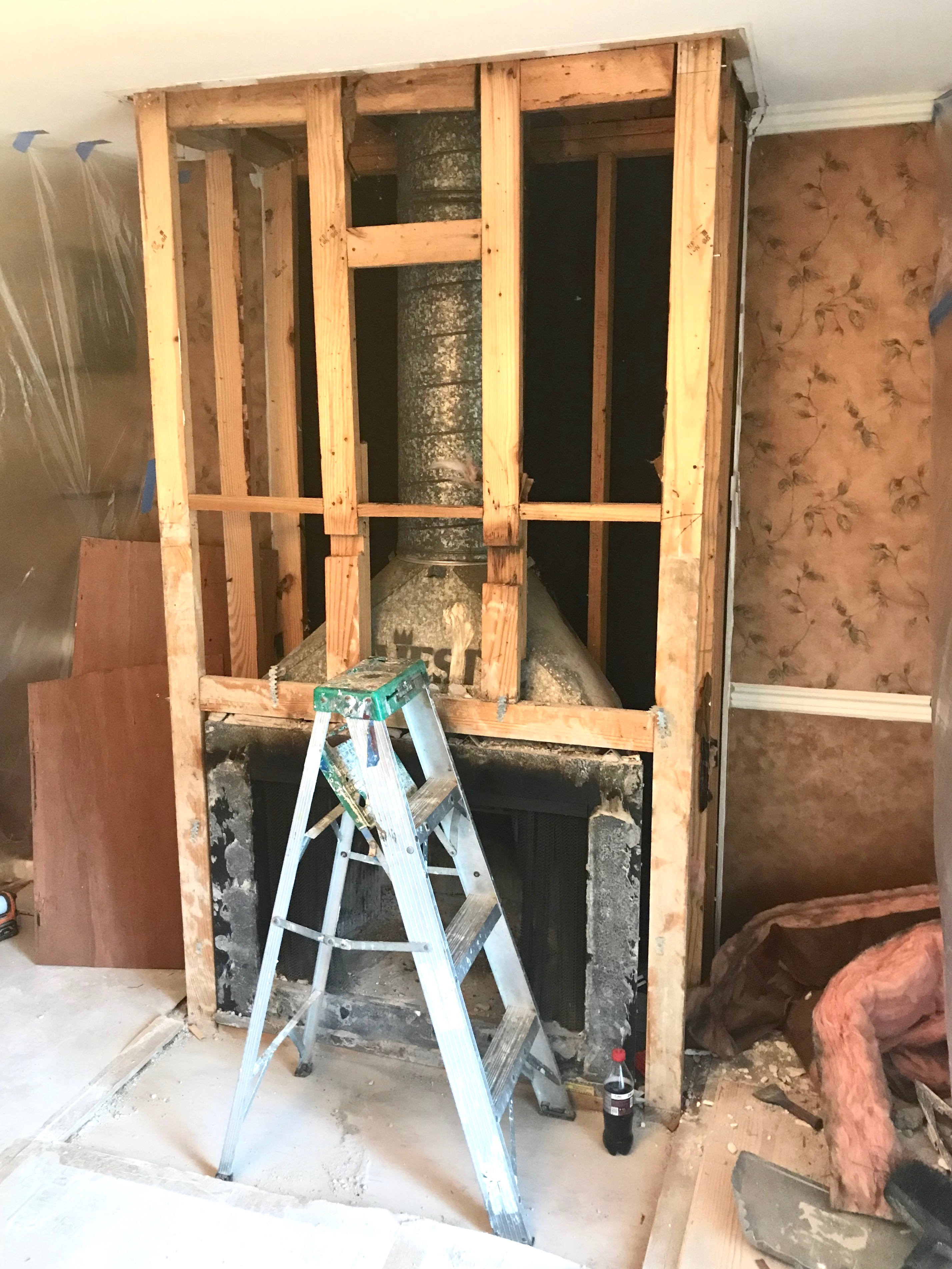 Demolition of the fireplace - step 1